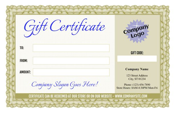 Formal Gift Certificate Templates 3 and 4