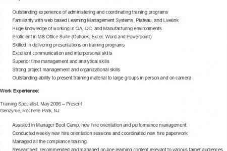 Resume sample for training specialist
