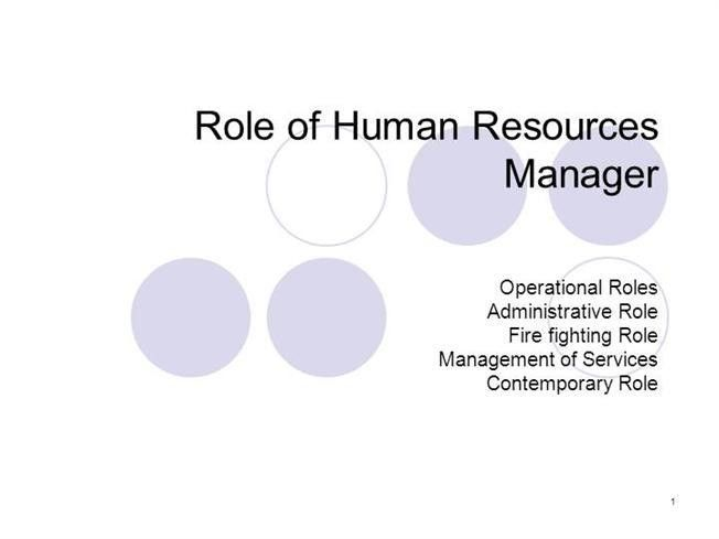 Role of Human Resources Manager-PPT |authorSTREAM