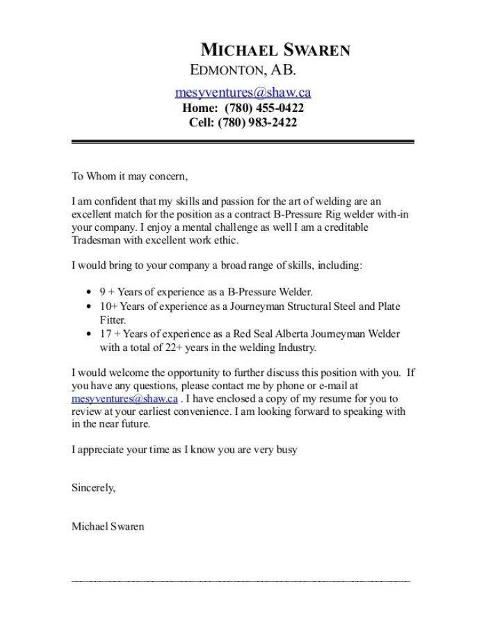 Pipe Welder Cover Letter