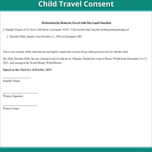 Child Travel Consent Form | Free Minor Travel Consent Letter (Us ...