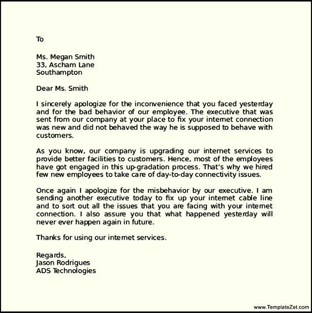 Formal Apology Letter to Client | TemplateZet