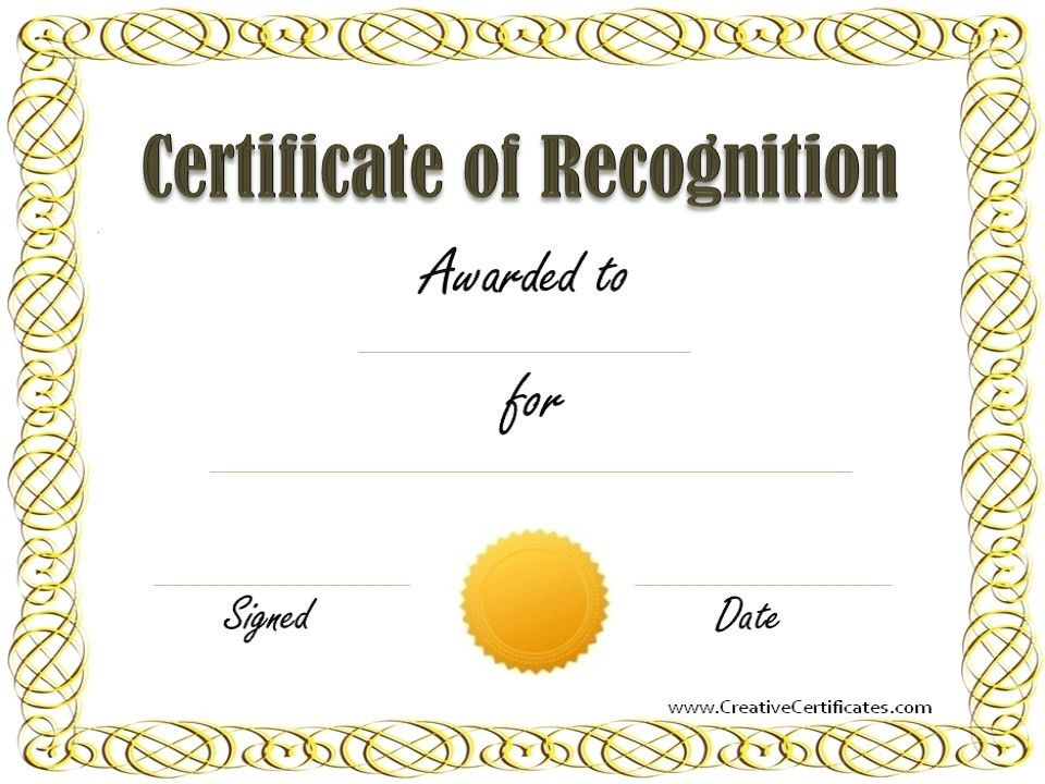 Recognition Certificate Template. Cream Simple Certificate Of ...