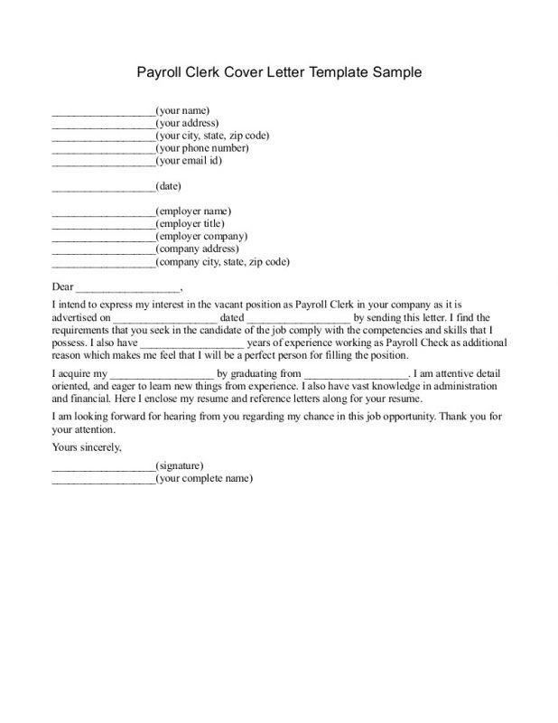 Payroll Clerk Cover Letter – Template Design