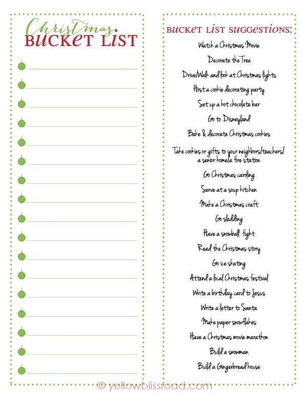 Christmas Bucket List Free Printable | Free printable, Buckets and ...