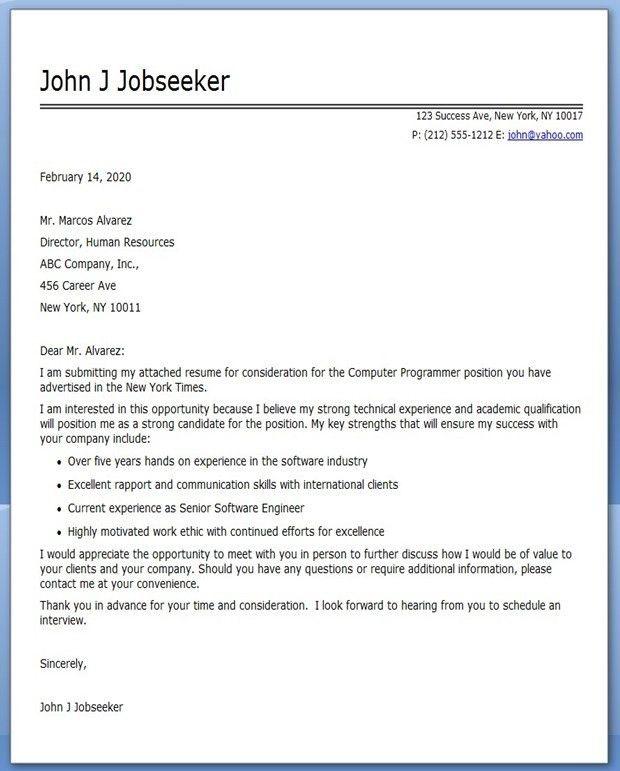 Computer Programmer Cover Letter Sample | Creative Resume Design ...