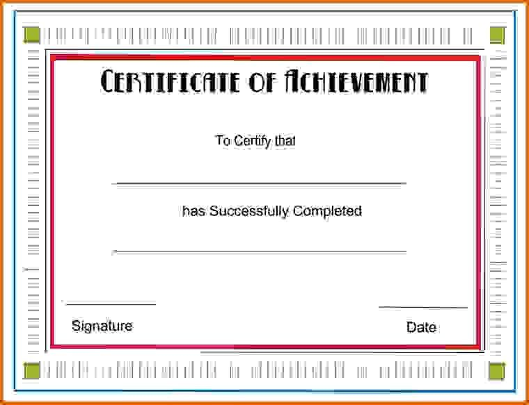 achievement certificate templateReference Letters Words ...