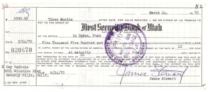 Bank Promissory Note Signed By Legendary Actor James Stewart