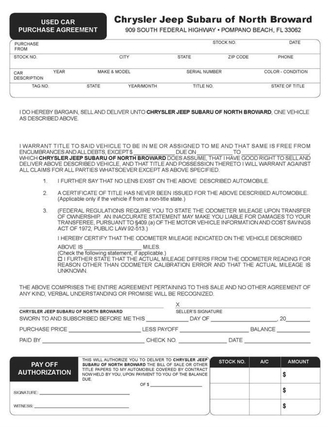 Alberta Vehicle Purchase Agreement For New Or : Vlcpeque