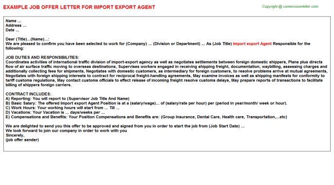 Import Export Manager Offer Letters