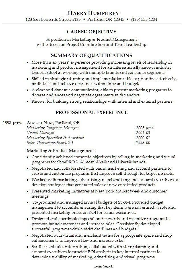 Marketing Resume Objectives Examples. Sales Marketing Resume .