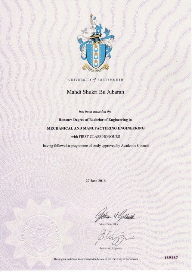 Certification from university of portsmouth