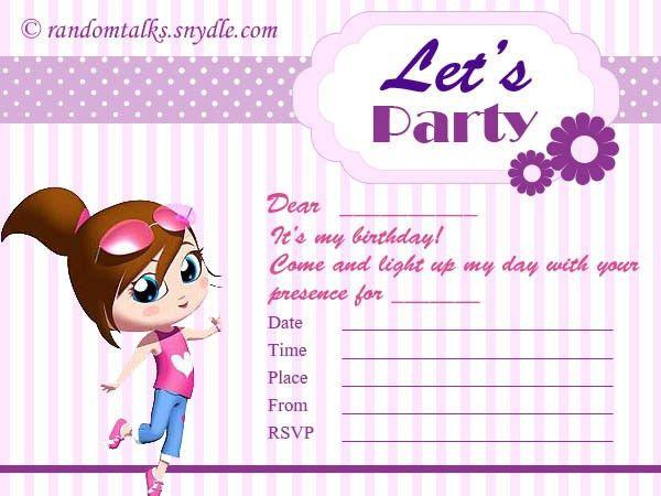 Free Printable Birthday Invitations - Random Talks