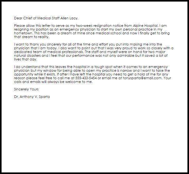 Physician Resignation Letter | Resignation Letters | LiveCareer