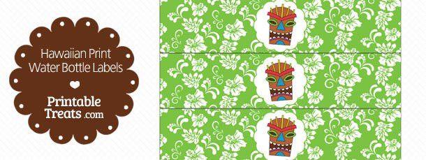 Printable Green Hawaiian Print Water Bottle Labels — Printable ...