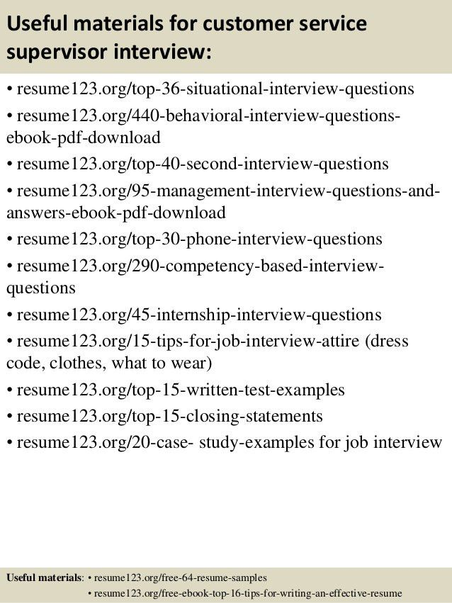 Top 8 customer service supervisor resume samples