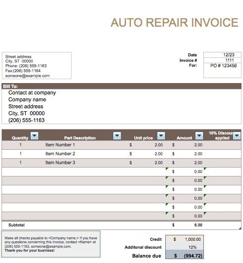 Auto Repair Invoice Template | Free Invoice Templates