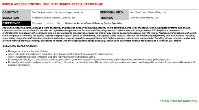 Access Control Security Senior Specialist Cover Letter & Resume