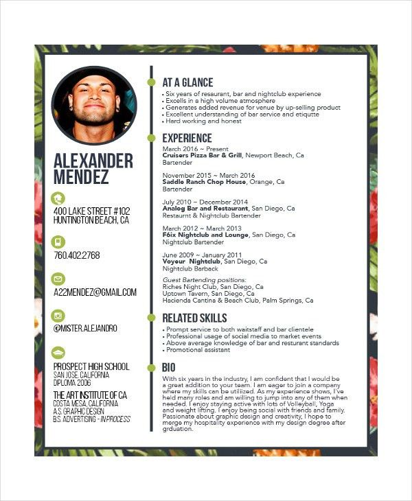 Download Bartender Resume Template | haadyaooverbayresort.com