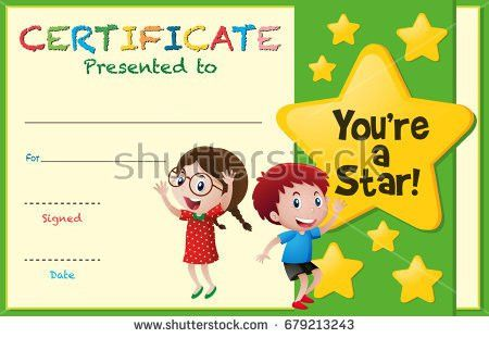Certificate Template Children Winter Illustration Stock Vector ...