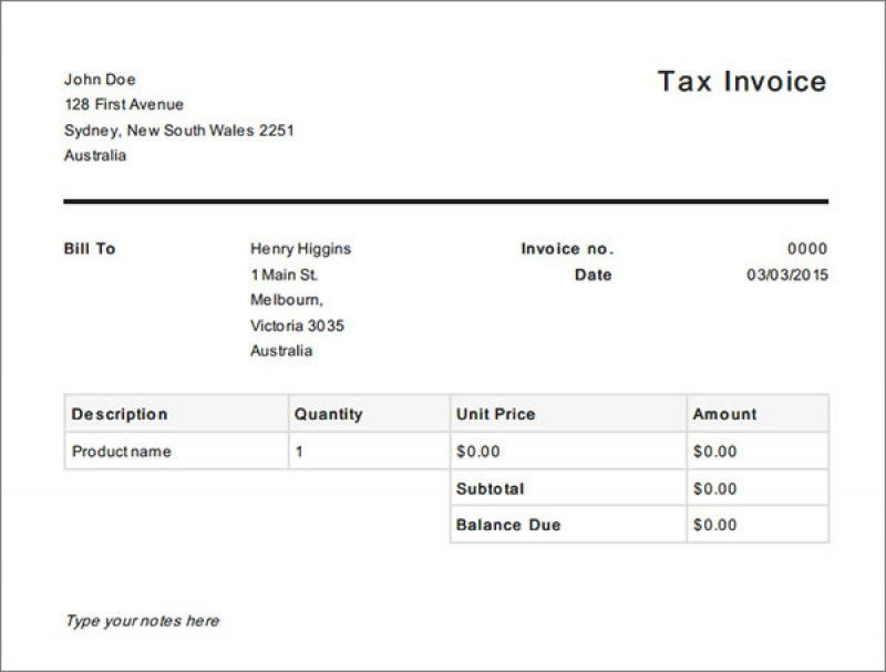 Download Free Simple Invoice Template Australia | rabitah.net