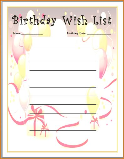 5+ birthday list template | teknoswitch