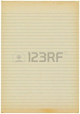Old Yellowing Lined Blank A4 Paper Isolated. Stock Photo, Picture ...