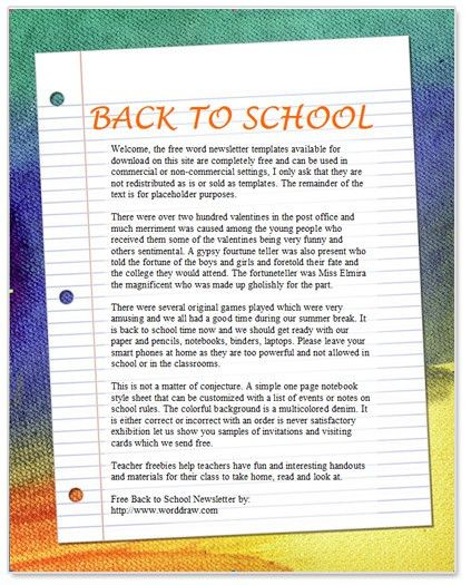 Back to School Newsletter Template for Microsoft Word by WordDraw.com