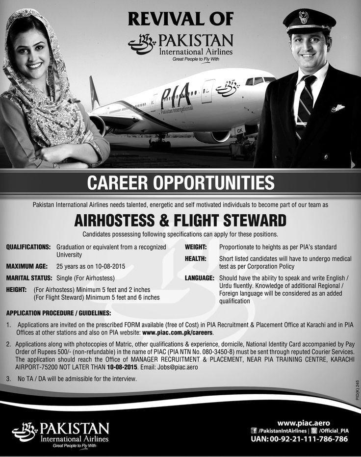 PIA Karachi Air Hostess, Flight Steward Jobs 2015   Private Jobs ...