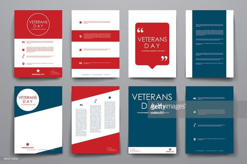 Set Of Brochure Poster Design Templates In Veterans Day Style ...