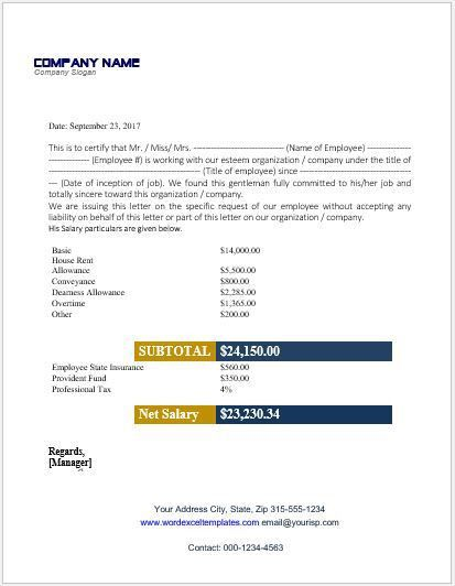 Pay Certificate Sample Salary Certificate Template 28 Free Word
