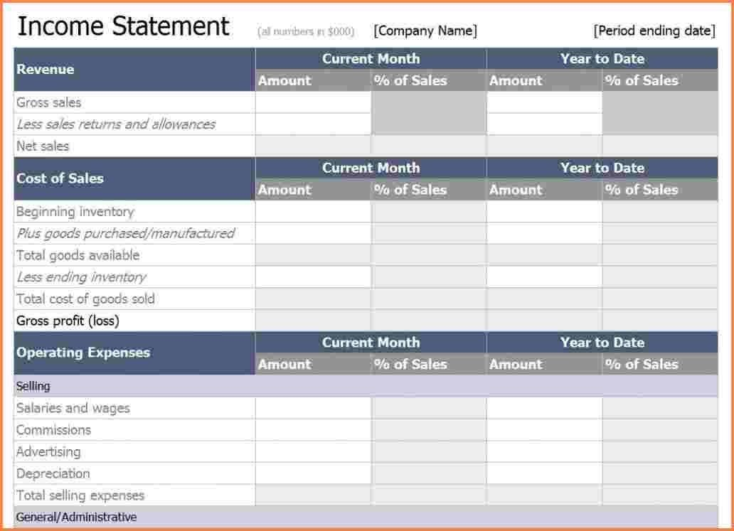 10+ income statement template excel | Registration Statement 2017