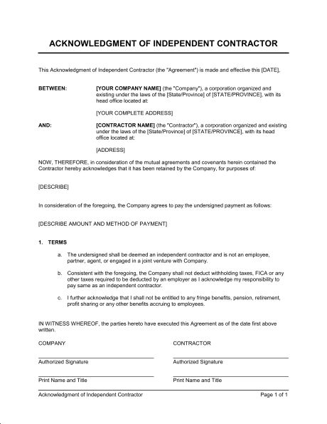 Acknowledgment of Independent Contractor - Template & Sample Form ...