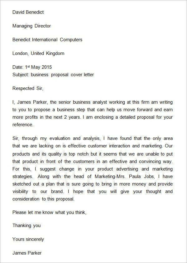Sample Business Proposal Cover Letter | business proposal ...