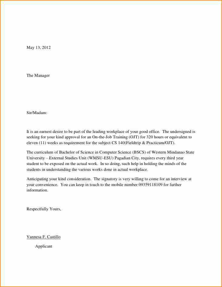 14+ example of an simple application letter - Basic Job Appication ...