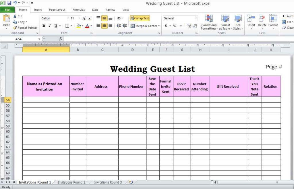Wedding Guest List Spreadsheet Template | HAISUME