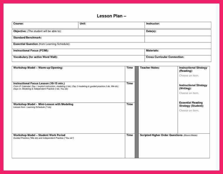 blank lesson plan template | bio letter format