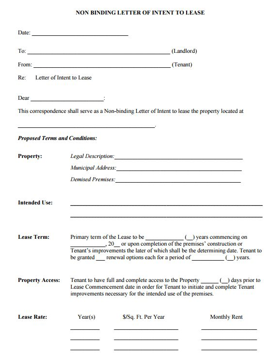 4+ Letter Of Intent To Lease Templates   Word Excel Templates  Letter Of Intent To Lease Sample