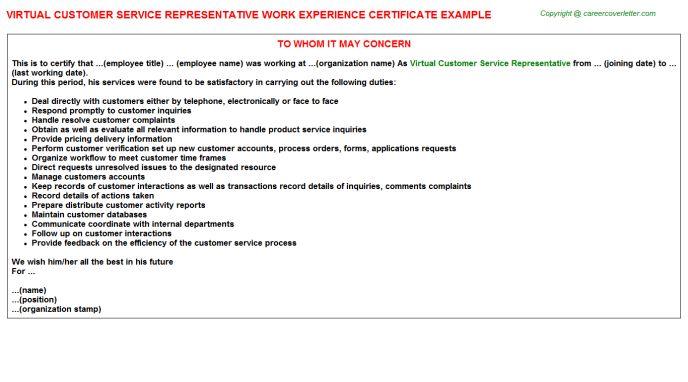 Virtual Customer Service Representative Work Experience Certificate