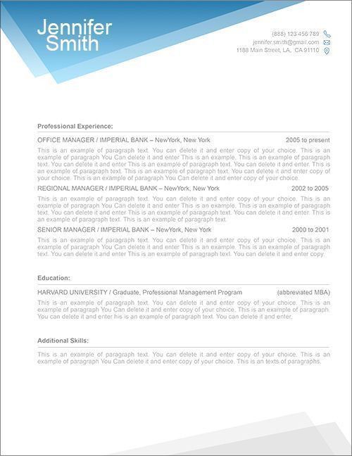 FREE Resume Template 1100040 - Premium line of Resume Cover Letter ...