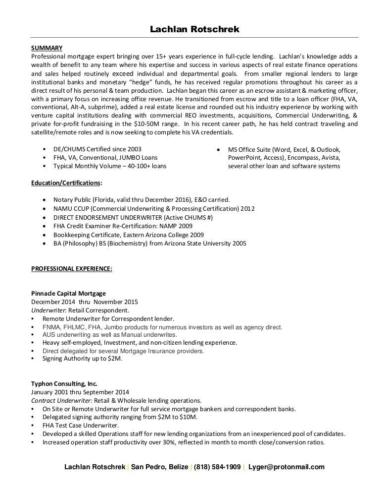 Contract underwriter resume