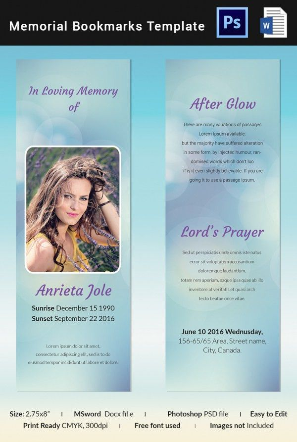 Funeral Bookmark Template - 22+ Free PSD, AI, Vector EPS Format ...