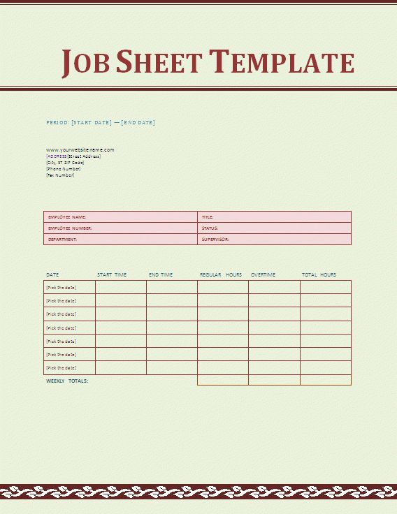 Job Sheet Template - Social Funda