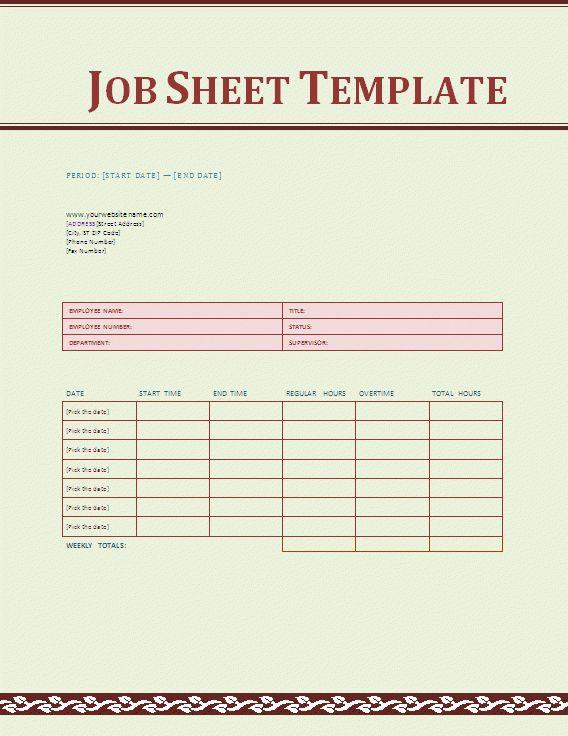 Job Sheet Template - Social Funda