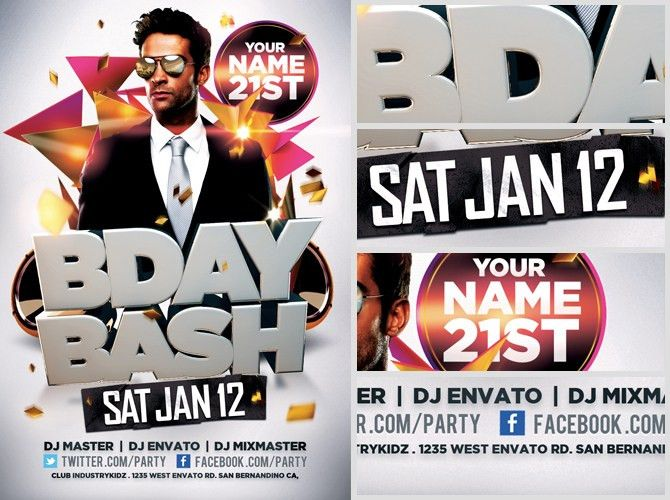 Bday Bash Flyer Template - FlyerHeroes