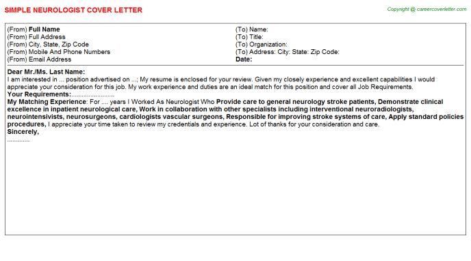 Neurologist Cover Letter