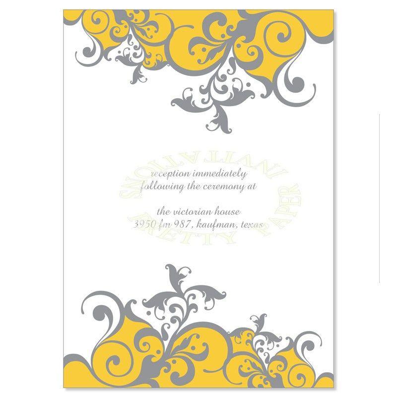 Yellow & Gray Reception Card Templates - Claire Saffron Do It ...