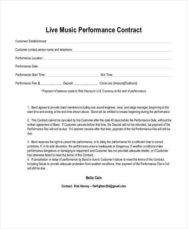 Band Contract Template. Music Artist Management Contract Pdf ...
