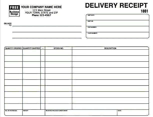 Delivery Receipt Template in Excel Format | Excel Project ...
