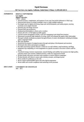 Digital Copywriter Resume Sample | Velvet Jobs